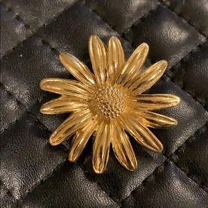Vintage Gold Flower Metal Brooch